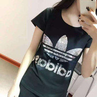 Adidas Fashion Sequin Embroidery Short Sleeve Hip hop Casual Tunic Shirt Top Blouse
