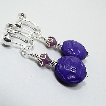 Clip on Earrings, Purple Earrings, Drop Earrings, Silver Plated, Bright Purple, Ultra Violet, Made with Vintage Lucite Beads