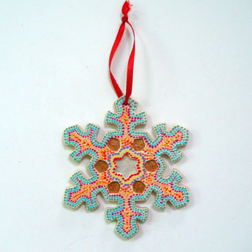 Hand Painted Rainbow Snowflake Ornament
