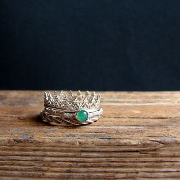 Crown Ring Chrysoprase Stacking Rings Green Ring Sterling Silver Gemstone Ring