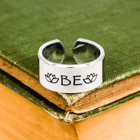 "Just ""Be"" - Lotus - Adjustable Aluminum Ring"
