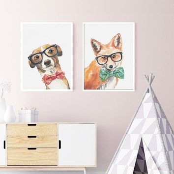 SURE LIFE Cool Dog Cat Fox Animals Poster Printings Canvas Paintings Nordic Wall Art Pictures for Nursery Kids Room Home Decor