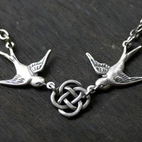 $24.00 Celtic Knot and Swallows Necklace by robinhoodcouture on Etsy