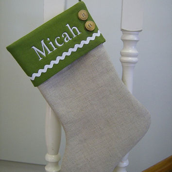 Personalized Burlap Linen Christmas Stocking