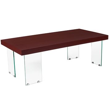 Forest Hills Collection Wood Grain Finish Coffee Table with Glass Legs