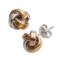 14k Gold Over Silver Tri-Tone Love Knot Stud Earrings (Tri Tone)