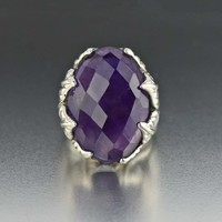 Vintage Silver Amethyst Arts & Crafts Ring 1910s