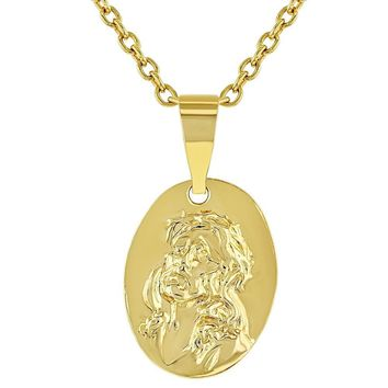 """18k Gold Plated Sacred Heart of Jesus Christ Small Medal Kids Pendant Necklace 16"""""""