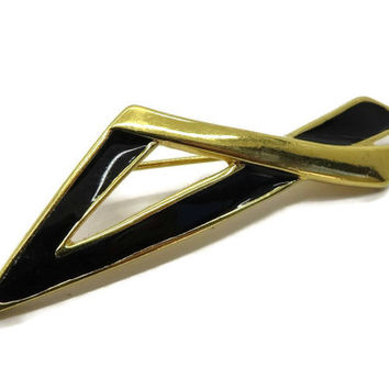 Monet Black and Gold Brooch, Vintage Angled Gold Tone Pin