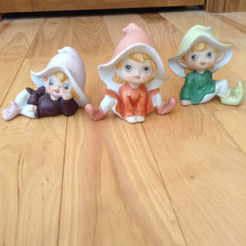 Vintage Homco Trio of Elf figurines