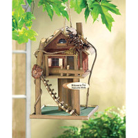 Whimsical Treehouse Eucalyptus Wood Birdhouse
