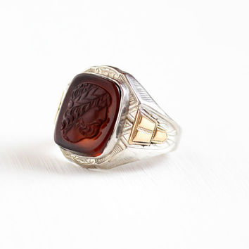 Vintage Sterling Silver & Gold Intaglio Greek Cameo Ring - Size 8.5 Art Deco 1930s OB Ostby and Barton Carnelian Raised Gem Fine Jewelry