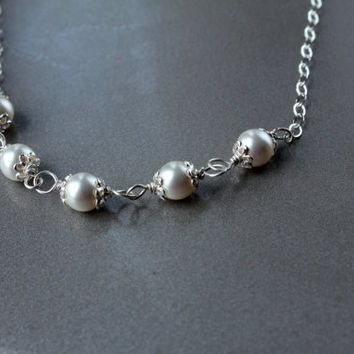 Pearl Necklace, Bridal Jewelry, Sterling Silver jewelry,