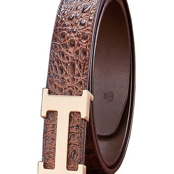 Menschwear Men's Geniune Leather Adjustable Belt with Slide Metal Buckle 38mm