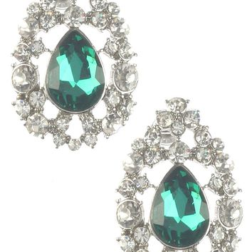 Green Teardrop Crystal Stone Cluster Earring