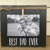 Father's Day Gift   BEST DAD EVER Rustic Picture Frame   Personalized Picture Frame   FREE shipping