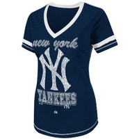 MLB Women's New York Yankees Bling Beauty Short Sleeve V-Neck Boyfriend Tee (Athletic Navy Heather/White, XX-Large)