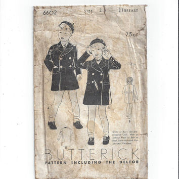 Butterick 6602 Pattern for Child's Double Breasted Coat, Beret, from 1920s, with Deltor, Vintage Non Print Pattern, Home Sew Pattern, Size 2