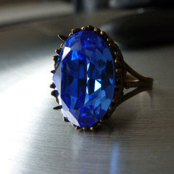 Blue Ring Sapphire Antique Bronze Oval Cabochon Swarovski Crystal - Antique Cocktail Ring