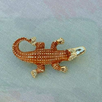 Signed Alligator Crocodile pin Brown Orange Enamel Metal Reptile Jewelry