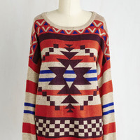Boho Mid-length Long Sleeve Moab in the Morning Sweater by ModCloth