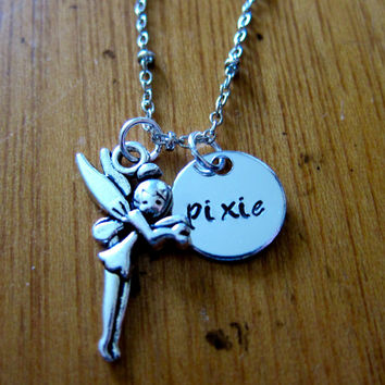 "Disney's ""Peter Pan"" Inspired Tinkerbell Pixie Fairy Necklace. Hand Stamped Charm Pendant, for women or girls. Cute & petite 1/2"" charm."