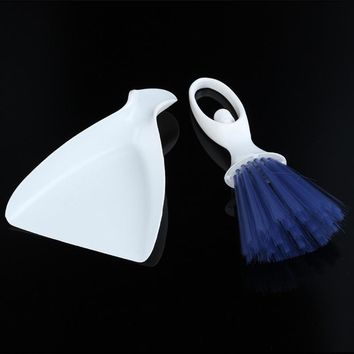 2in1 Mini Car Cleaning Brush Broom Dustpan Set Flow Air Conditioner Dashboard Laptop Computer Keyboard Cleaner Tool HG02864 S03