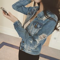 Fashion Spring Ripped Denim Jacket for Women Slim Woman Jeans Jacket With Hole chaquetas mujer