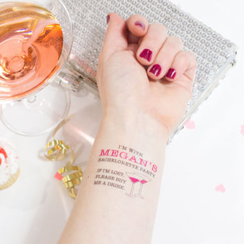 Bachelorette Party Temporary Tattoos,  If Lost, Buy Me a Drink, Pack of 15 Custom Tattoos with Optional Customized Bride Tattoo