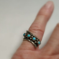 Southwest Silver Ring Size 6 1/2 Vintage Turquoise Ring Native American Indian Style Ring Ships Free