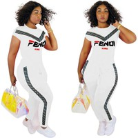 Fendi Summer New Fashion M ore Letter Print Sports Leisure Top And Pants Two Piece Suit White