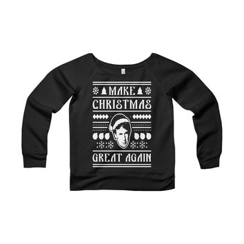 Make Christmas Great Again Ugly Christmas Sweater - Women's Wide Neck Sweatshirt