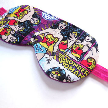 Superhero Sleep Eye Mask, Wonder Woman Eyemask, Adult Women teen Girl Child Kid, Pre-teen Gift, Soft Fleece Back, DC Comics Purple Pink