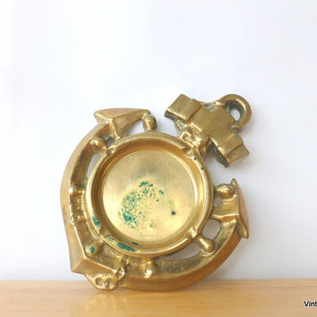 Vintage Brass Anchor Ashtray 1960s Solid Brass Home Decor Nautical Ships Wheel and Anchor