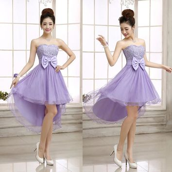 Cheap Short Sweetheart Junior Bridesmaid Dresses 2017 Fashion New Hi-Lo Lace Bow A-line Dress Color White Red Purple Champagne