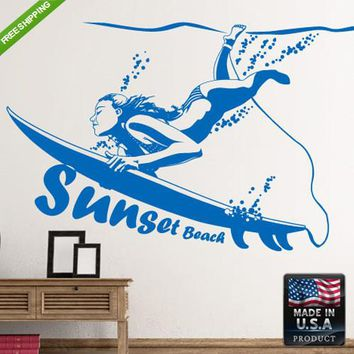 Wall Decals Art Decor Decal Sticker Sunset Beach Surf Board Surfer Bedroom z194