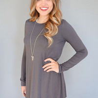 Fireside Long Sleeve Tee Shirt Dress Charcoal