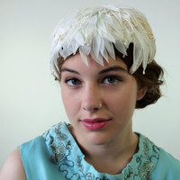 1960's White Silk and Velvet Petal Hat Bridal Swan Lake Pearl Drops