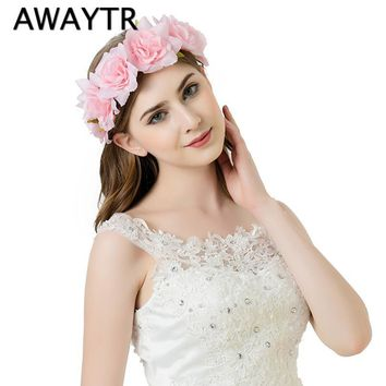 AWAYTR 2017 Handmade Rose Flower Headband Women Girls Flower Headwear Wedding Party Bride Flower Crowns Hair Accessories