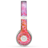 The Pink to Blue Faded Color Floral Skin for the Beats by Dre Solo 2 Headphones