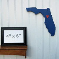 "Florida Gators ""State Heart"" wall art, handcrafted wood with official team colors"