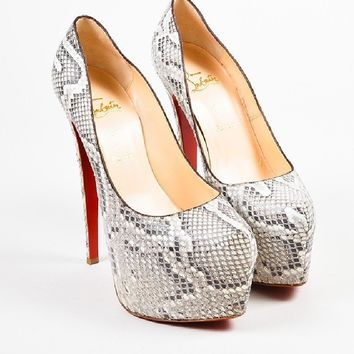 DCCK Christian Louboutin Grey and White Python Platform   Daffodile   Pumps