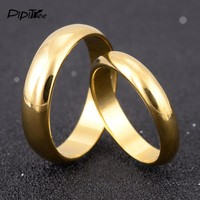 Simple Engagement Wedding Couple Rings Lovers Set Gold Color Rings for Men Women His and Her Promise Anniversary Jewelry