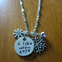"Disney's ""Frozen"" Inspired Elsa's friend Olaf ""I Like Warm Hugs"" Necklace, Charm Pendant. Silver colored, snowflake, for women or girls."