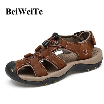 BeiWeiTe Men's Closed Toe Beach Outdoor Sandals Safety Anti-collision Fisherman Sneakers Genuine Leather Anti-skid Walking Shoes