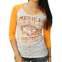 American Fighter Women's Lindenwood Camo 3/4 Raglan Graphic T-Shirt