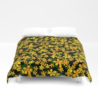 Orange & Yellow Flowers on Black Background Duvet Cover by gx9designs