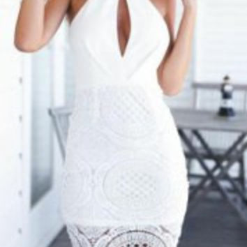 White Halter Cut-Out Mini Dress