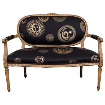 19th Century Louis XVI Style Settee with Black and Gold Fornasetti Fabric | nyshowplace.com
