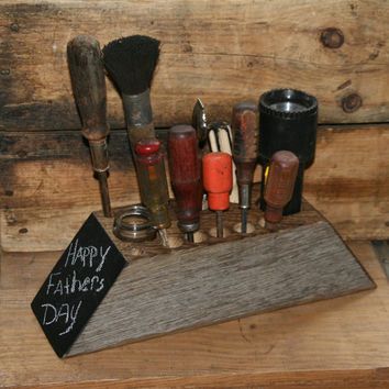Reclaimed Oak Wood Desk Organizer Caddy Chalkboard - Workshop Tool Storage - Rustic Decor